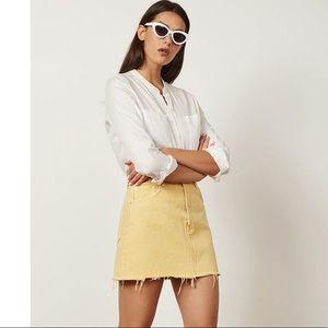 Boyish The Corey Yellow Denim Fringe Mini Skirt